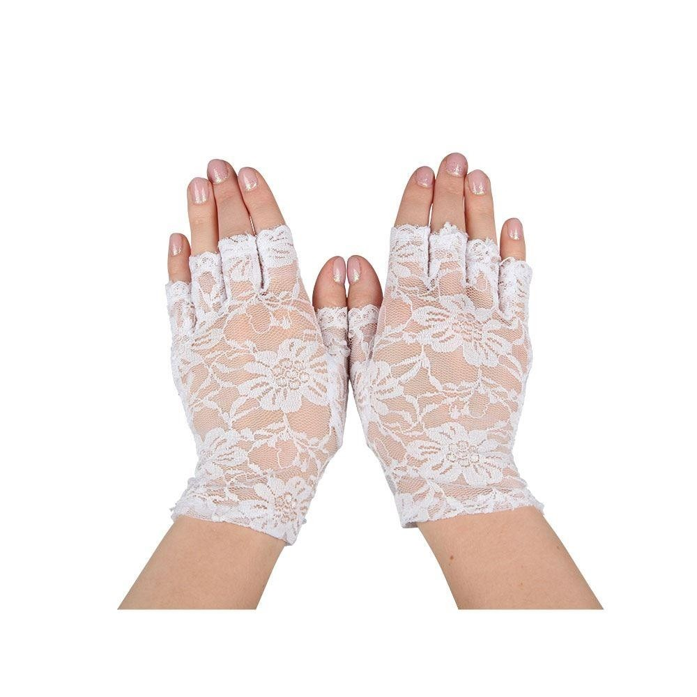 Lace Gloves Fingerless White Adult Ladies Fancy Dress Accessory