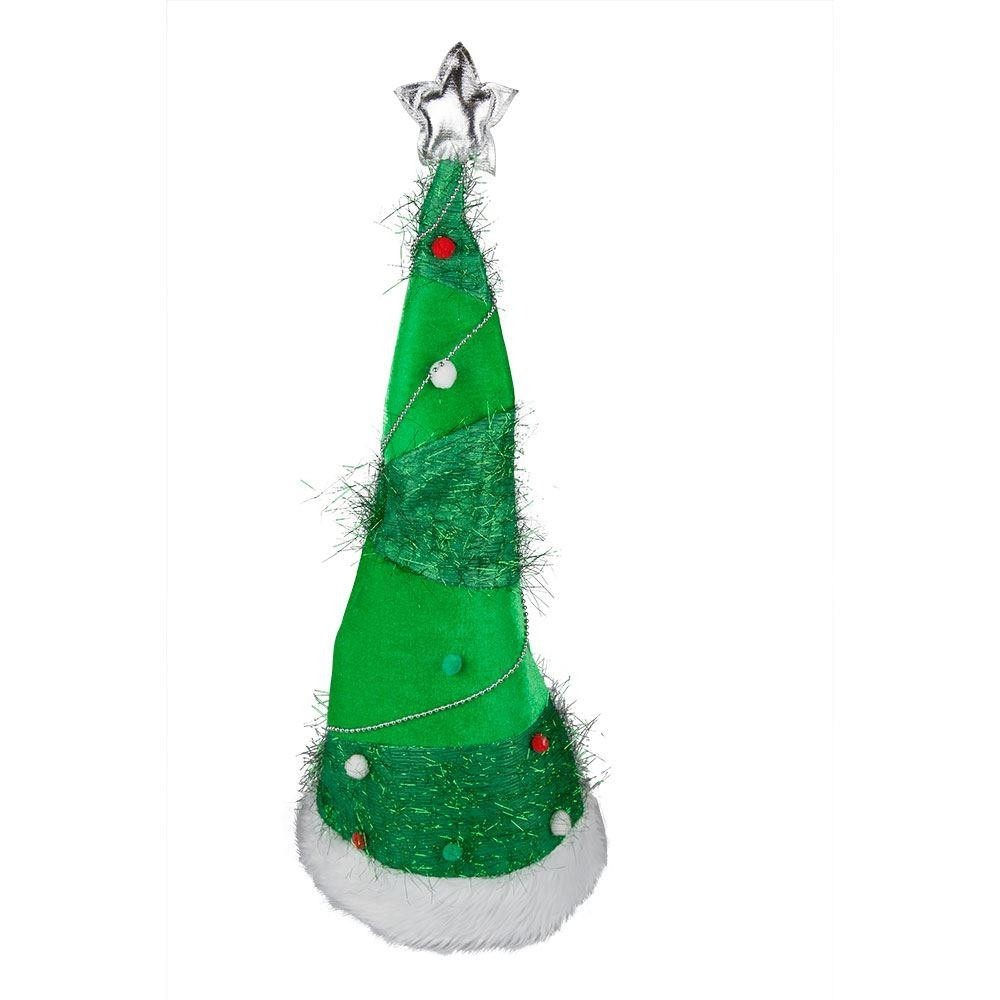 Stand Up Xmas Tree Hat Long Adult Fancy Dress Accessory