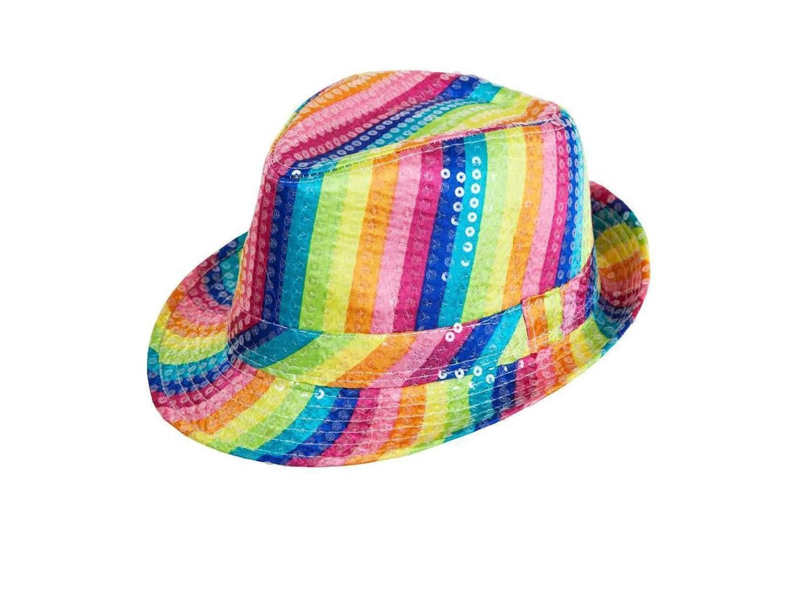 Sequin Fedora Hat Rainbow One Size Adult Fancy Dress Accessory