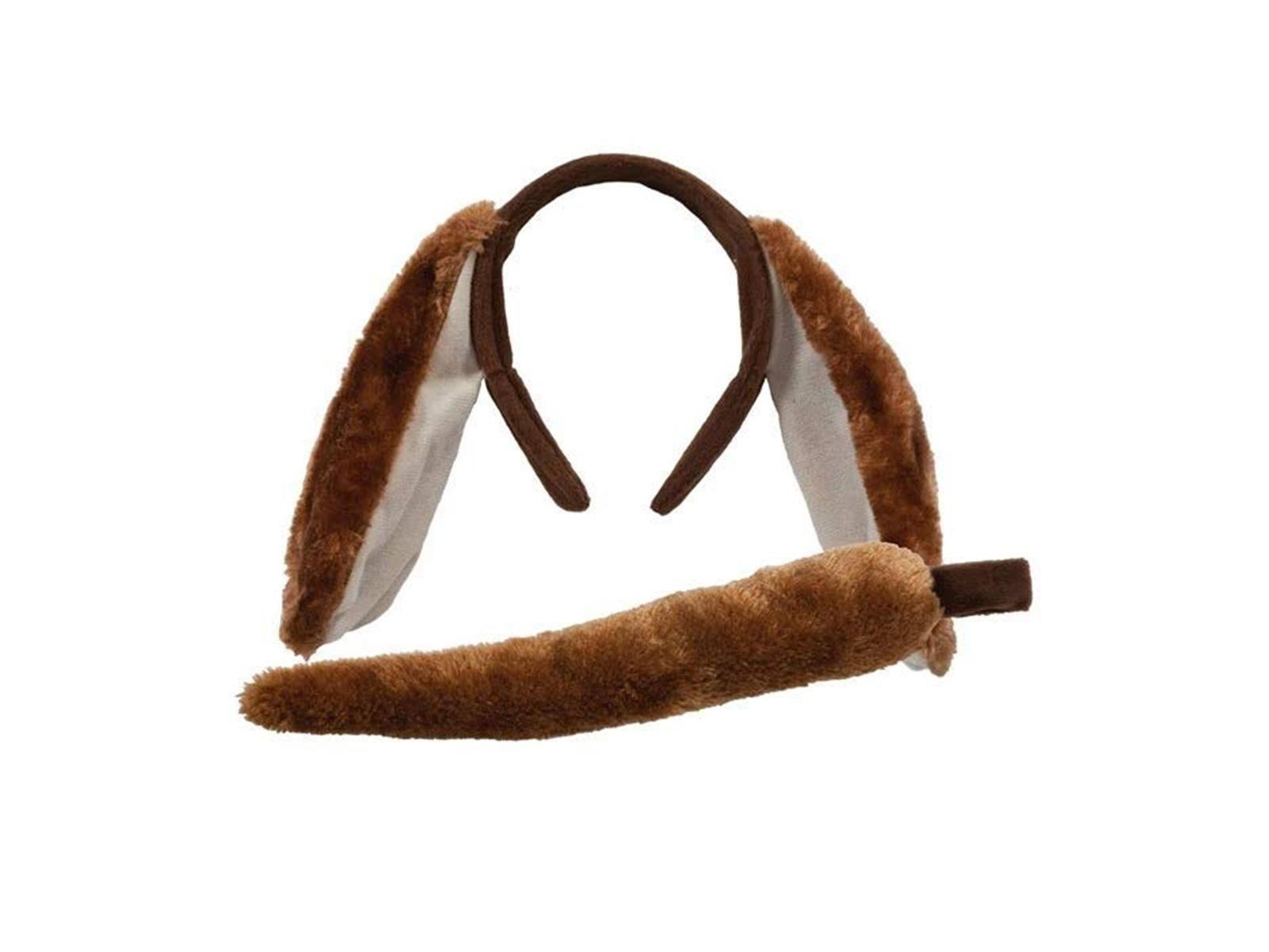 Dog Ears & Tail Set Brown One Size Adult Fancy Dress Accessorry