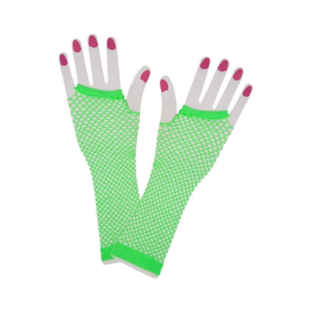 80's Net Gloves Long Lace Neon Green Adult Ladies Fancy Dress Accessory