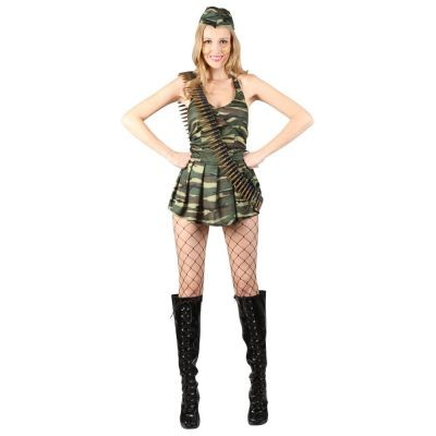 Cute Cadet Ladies Army Fancy Dress Costume Military Outfit Sizes 6/24
