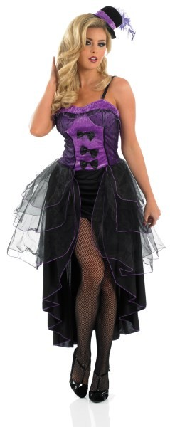 Womens Purple Burlesque Costume Fancy Dress Historical Costume