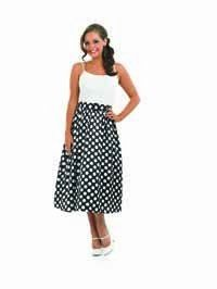 Adult Ladies 1950s Rock and Roll Black & White Skirt Costume