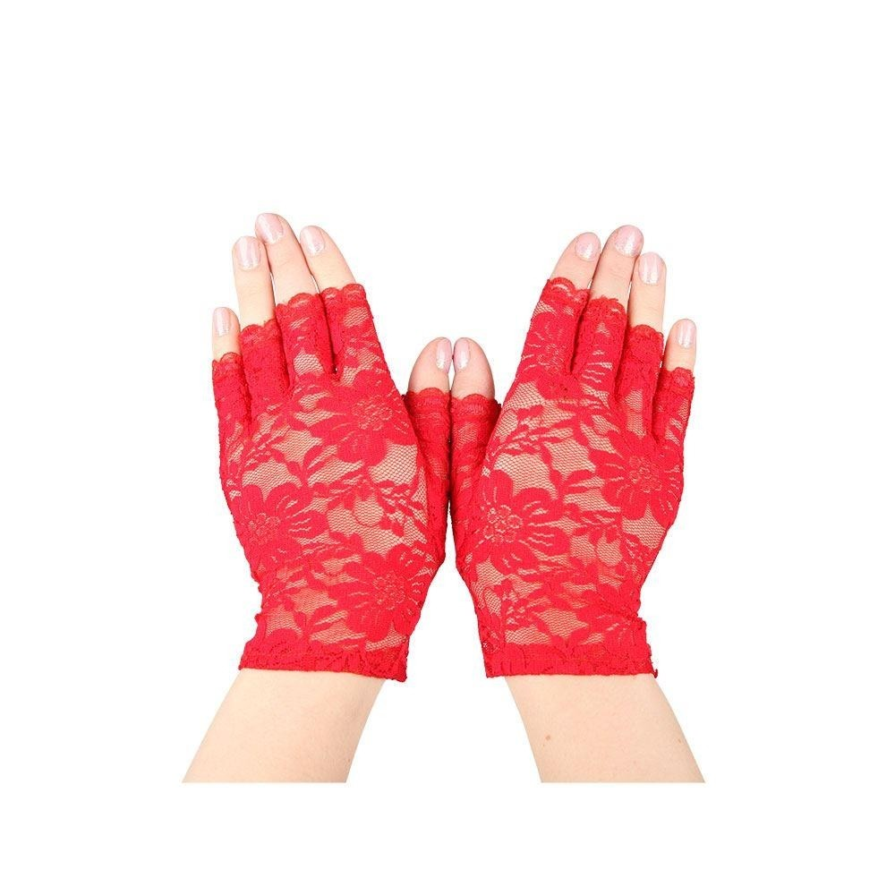 Lace Gloves Fingerless Red Adult Ladies Fancy Dress Accessory