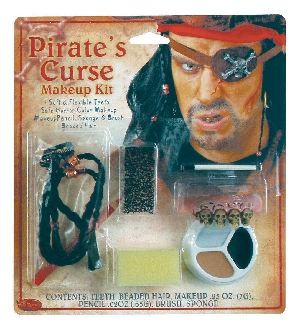 Pirates Kit Beaded Hair Teeth Brush Sponge Makeup Fancy Dress Accessory
