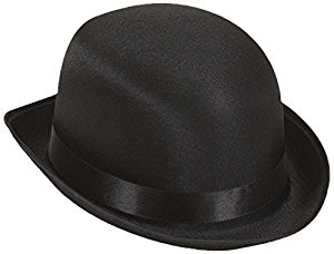 Bowler Black Satin Bowler Hats Caps and Headwear for Fancy Dress Costumes Accessory