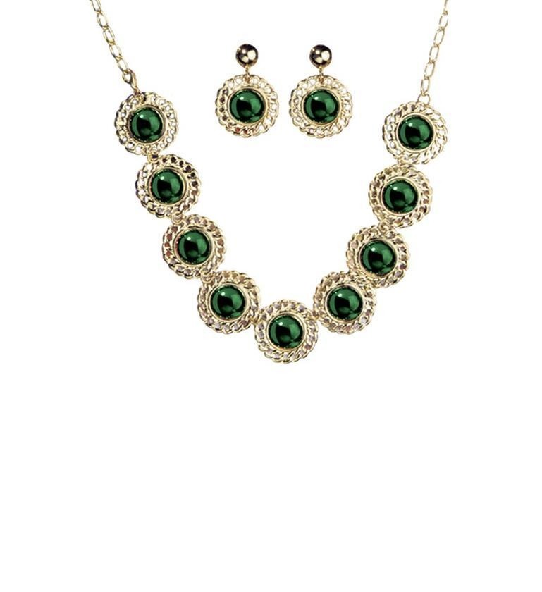 Medieval Queen Jewellery Set Necklace / Earring Green Adult Fancy Dress Accessory