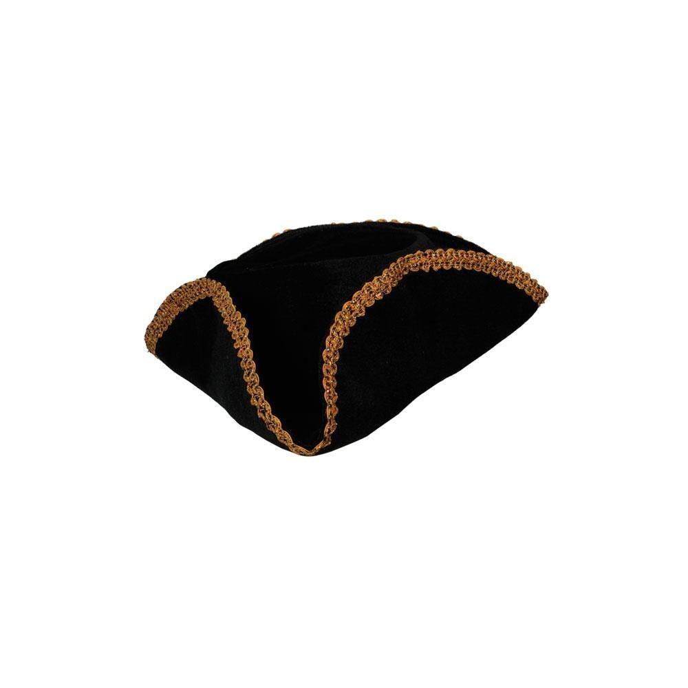 Pirate Hat Black w/ Gold Braid Trim Adult Fancy Dress Accessory