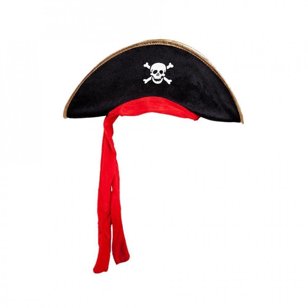 Pirate Hat w/ Attached Red Bandana Black w/ Gold Trim Fancy Dress Accessory