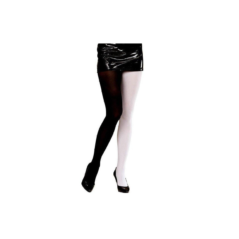 BICOLOUR PANTYHOSE ADULT - BLACK/WHITE