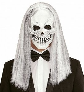 SKULL MASK W/LONG WHITE WIG