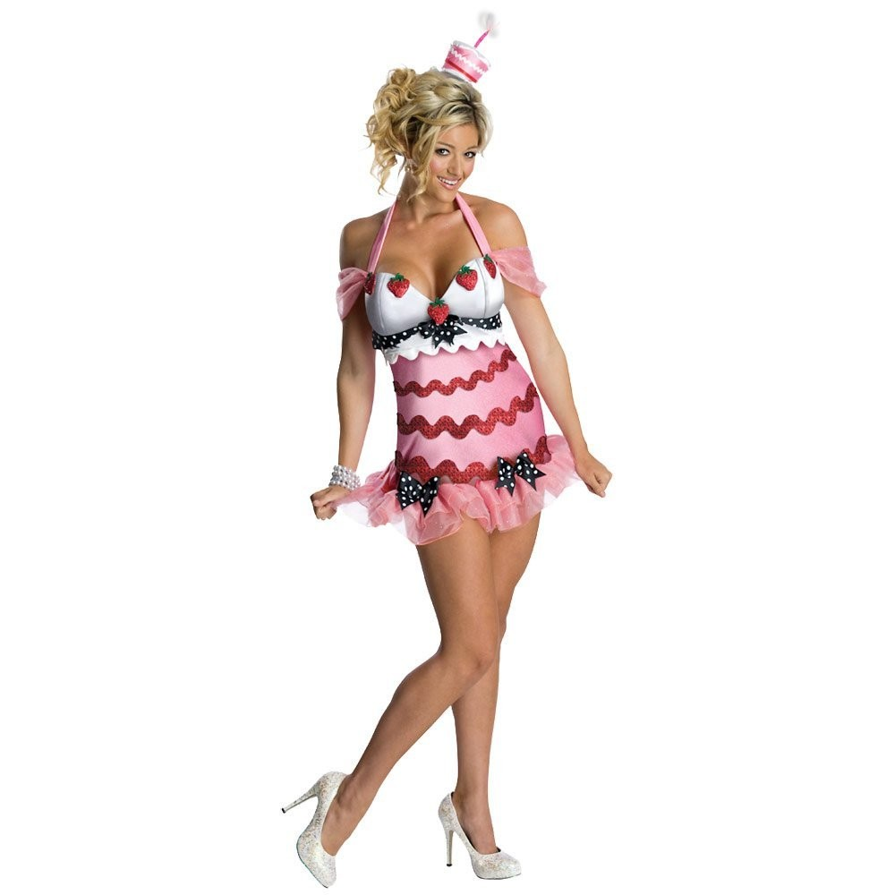 Ladies Sexy Happy Birthday Cake Fancy Dress Halloween Costume
