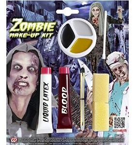 ZOMBIE MAKE UP KIT (liquid latex blood pencils makeup tray)