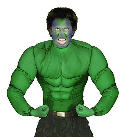 Medium Green Super Muscle Shirt Costume for Superhero Fancy Dress Up Outfits
