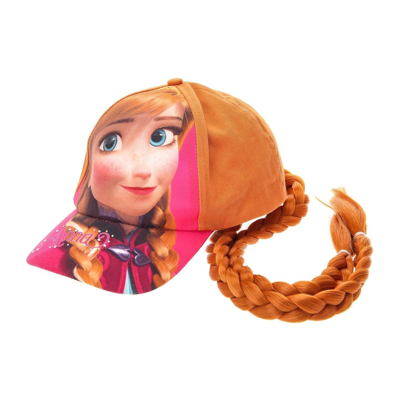 Disney Frozen Girls Kids Anna Faux Hair Cap Fancy Dress