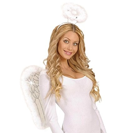 White Glitter Wings withMarabou 50x40cm Accessory for Christmas Panto Nativity Fancy Dress