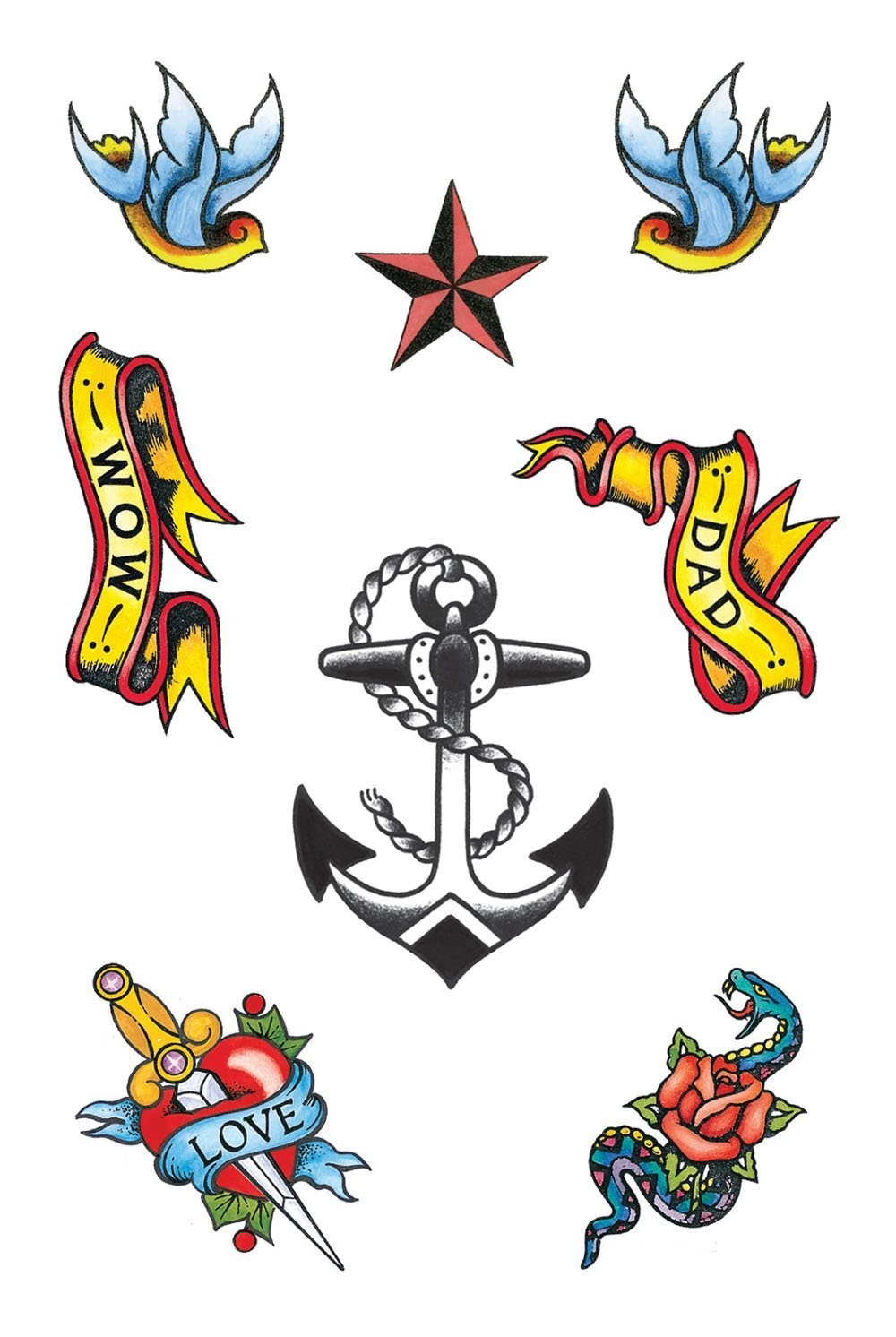 Sailor Theme Tattoos costume Accessory Navy Fancy Dress