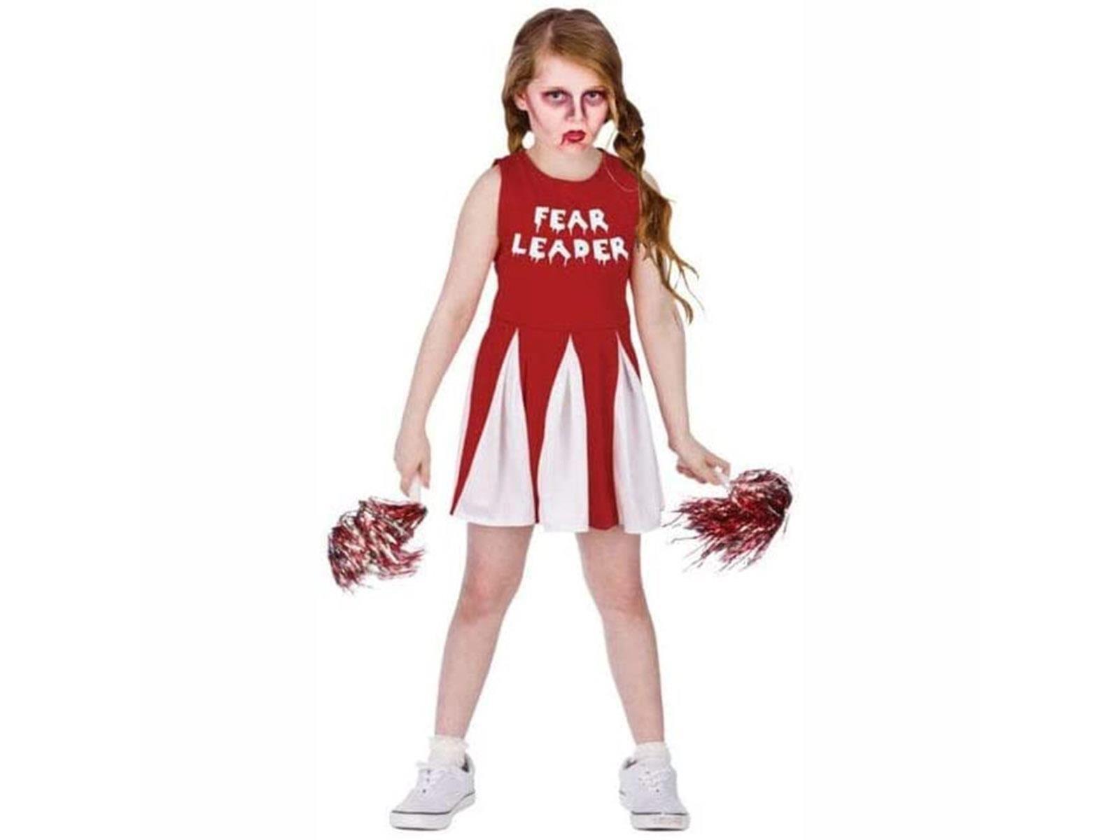 Zombie Cheerleader Fear Leader Medium Girls Fancy Dress Costume
