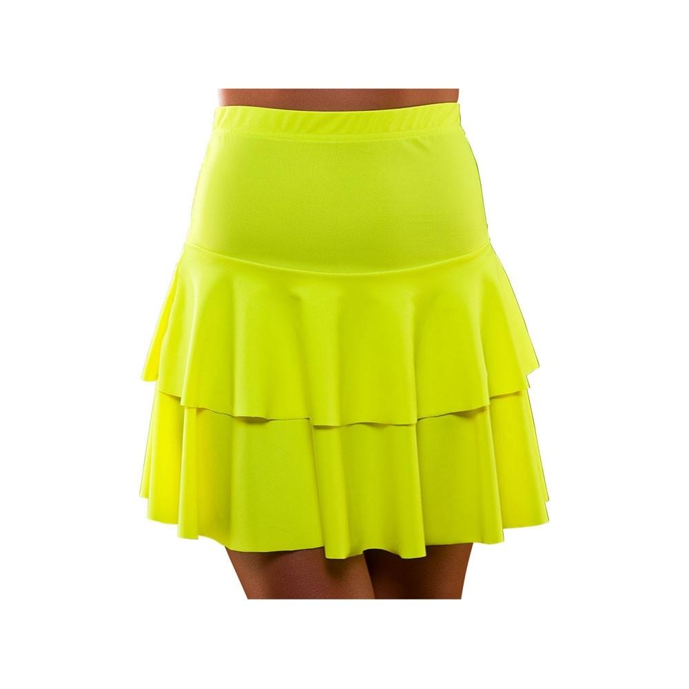 80's Neon Ra Ra Skirt Yellow Adult Ladies Fancy Dress