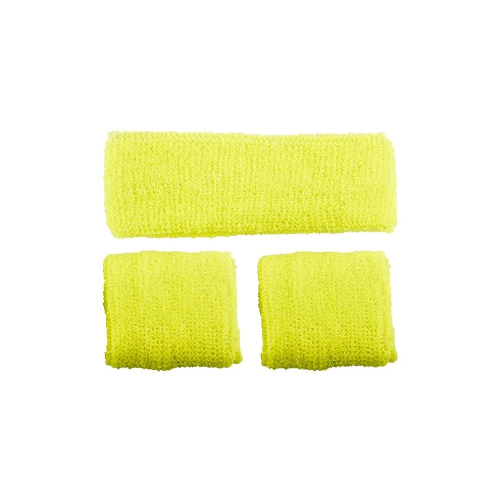 80's Sweatband & Wristbands Neon Yellow Adult Unisex One Size