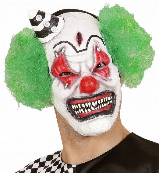 KILLER CLOWN MASK W/MINI HAT GREEN HAIR