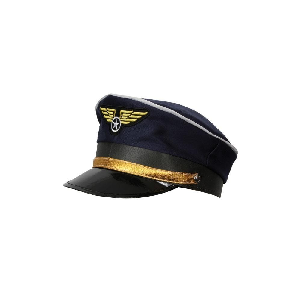 Airline Pilot Captains Hat Mens Fancy Dress Accessory