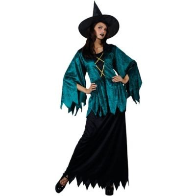 Wicked Enchanting Emerald Witch Halloween Costume Adult Fancy Dress