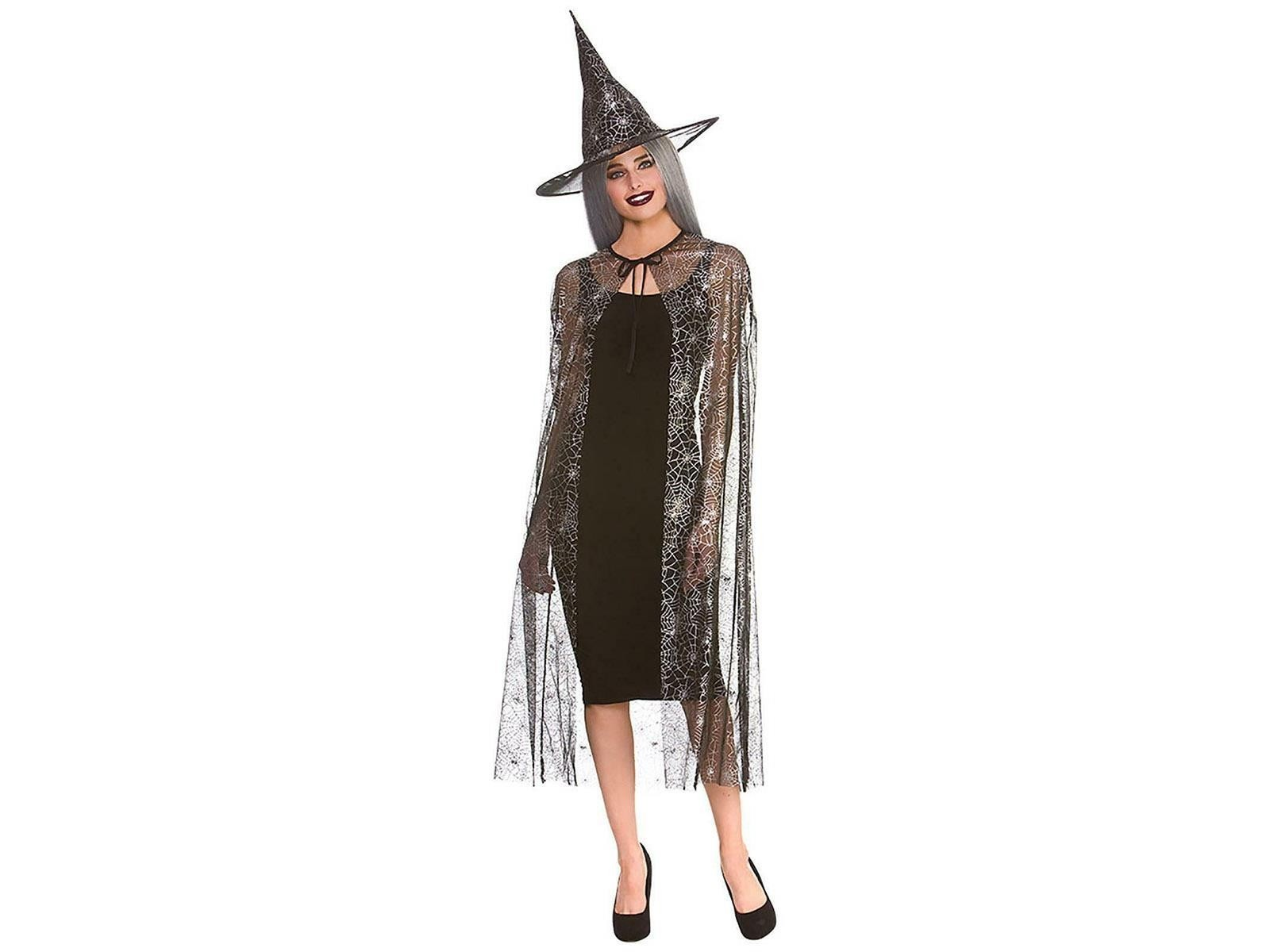 Shimmering Spider Web Witch Cape & Hat 125cm Adult Fancy Dress Accessory