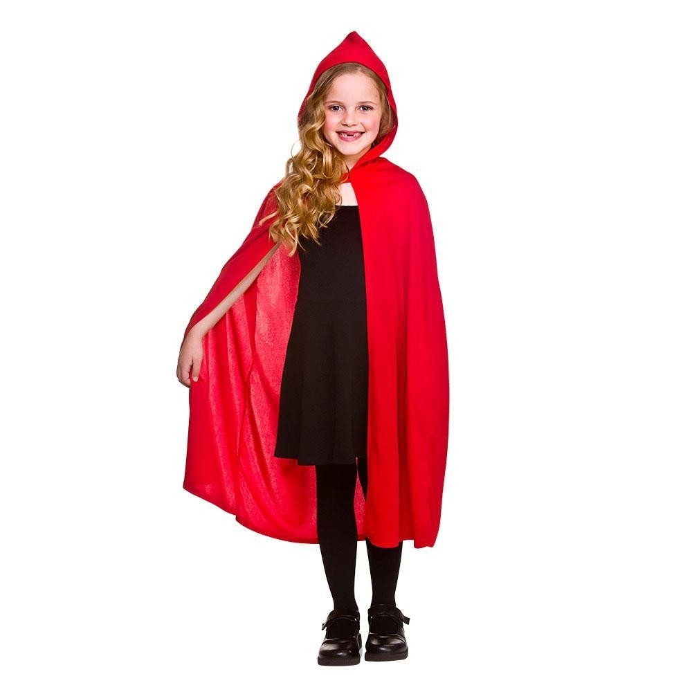 Hooded Cape Red Halloween  Childrens Fancy Dress Accessory