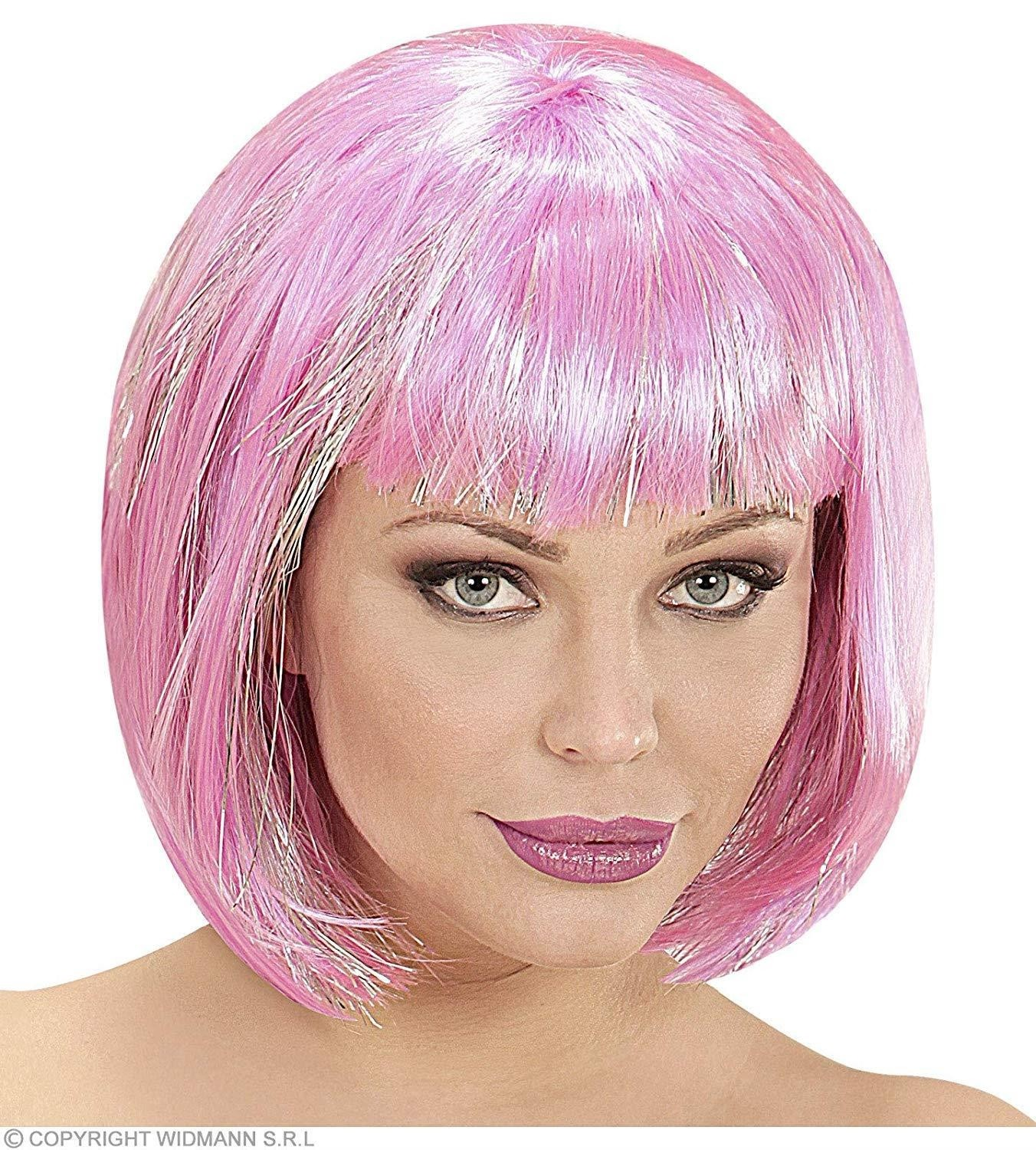 Cool Wig with Silver Tinsel Pink Adult Fancy Dress Accessory