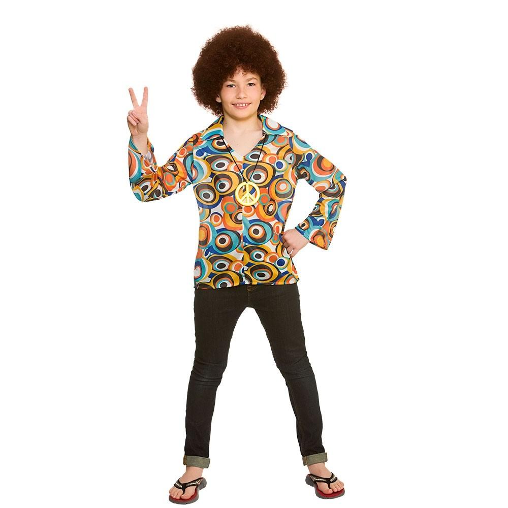 Boys Retro Hippie Shirt & Medallion Medium Kids Fancy Dress