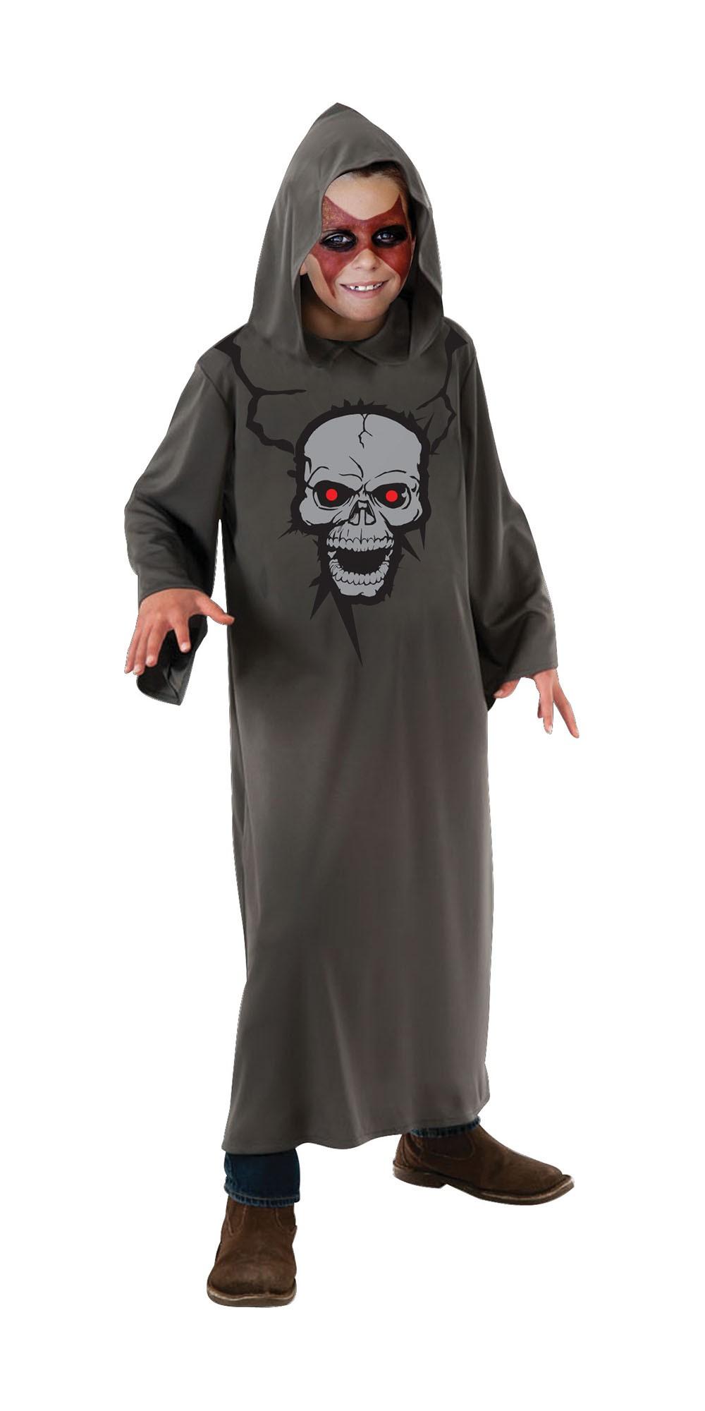 Hooded Robe. Skull Print (7-10 Years) costume Kids Fancy Dress