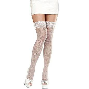 LACE TOP FISHNET THIGH HIGHS - WHITE