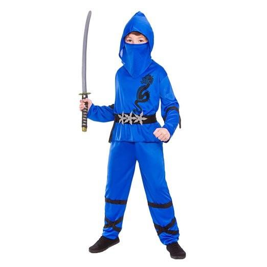 Boys Power Ninja Blue Black Fancy Dress Up Party Costume Halloween