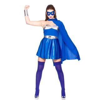 Hot Super Hero - Blue/Silver Fancy Dress Costume