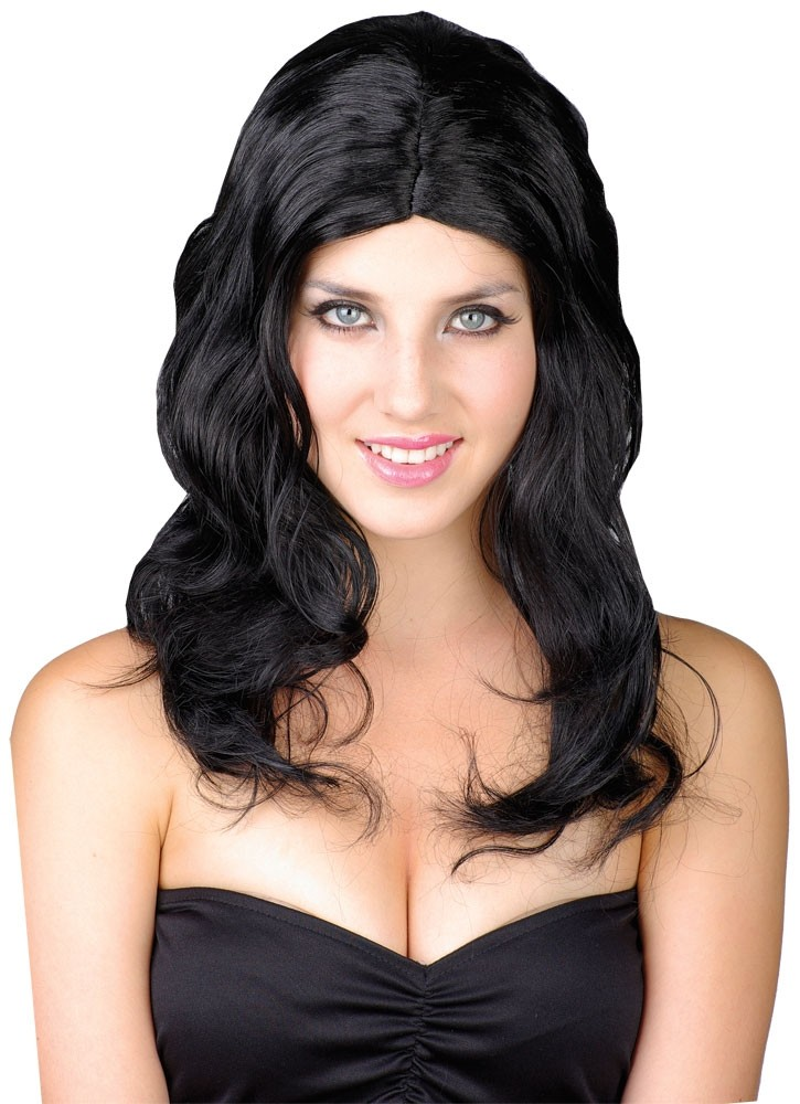 Long Glamour Wig Black Fancy Dress Accessory