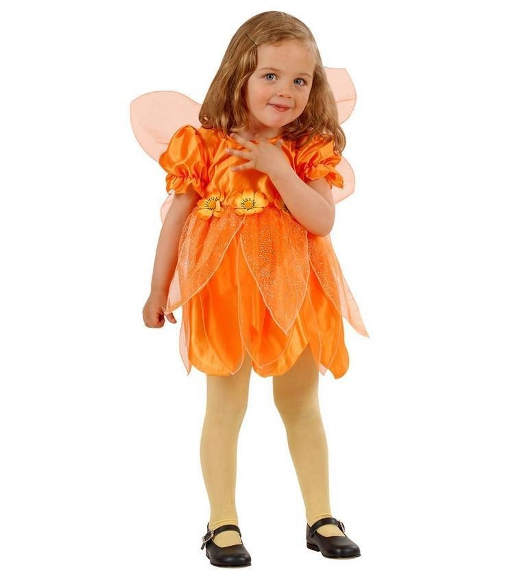 Little Flower Fairy Orange  98cm/104cm w/ Dress and Wings Kids Fancy Dress