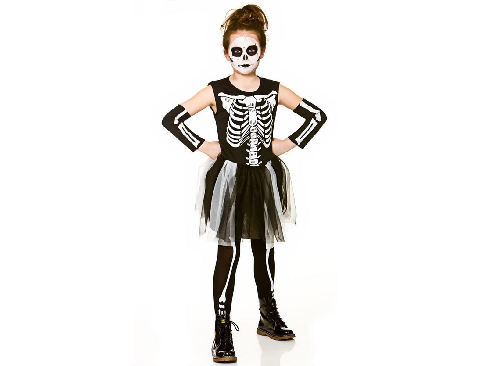 Skelebones XL 11-13 Black/White Girls Fancy Dress Costume