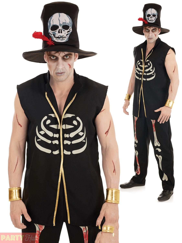 Voodoo Witch Doctor Costume Mens Ladies Couple Black Magic Halloween Fancy Dress