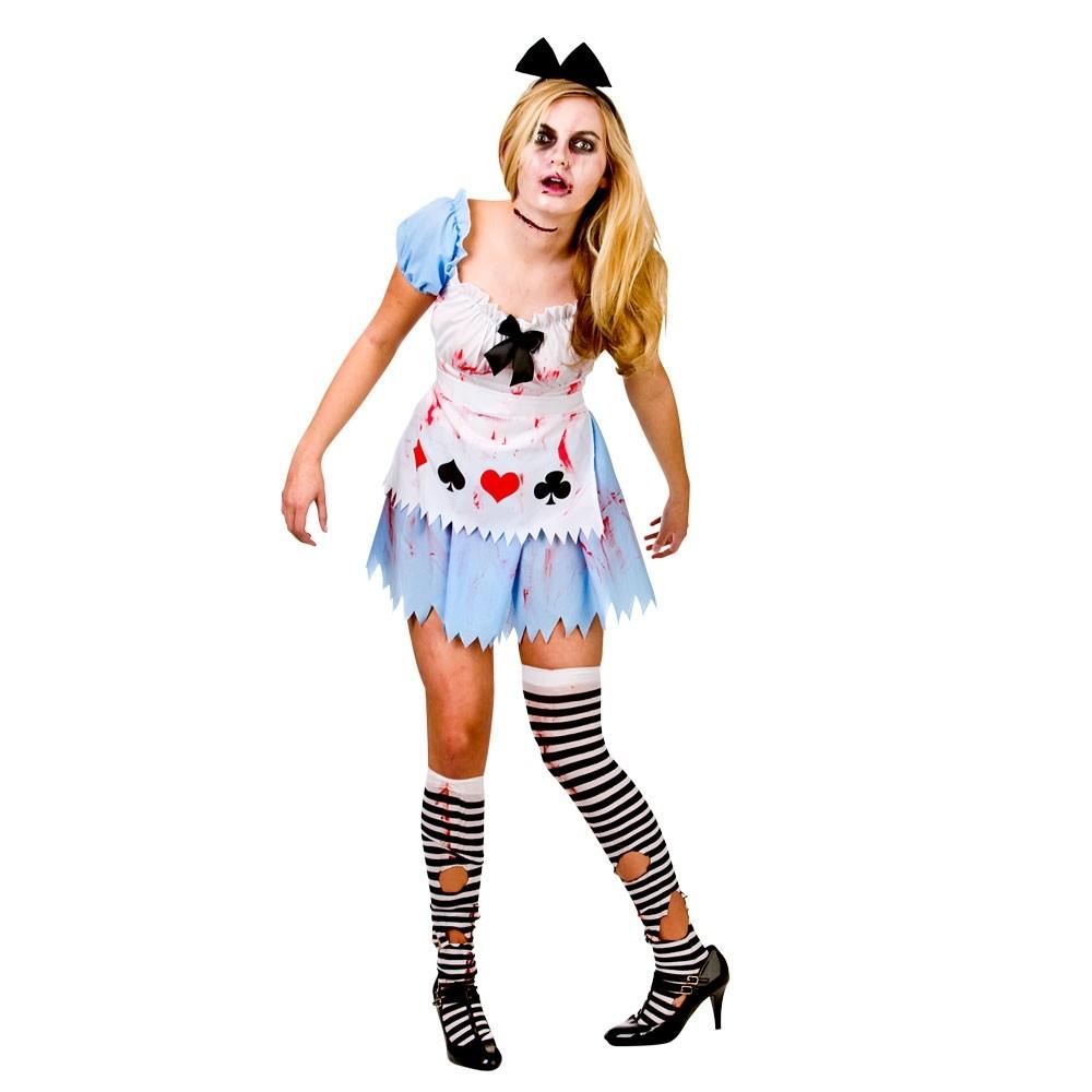 Alice in Zombieland Halloween Zombie Fancy Dress Ladies Costume