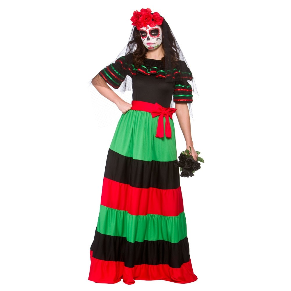 Day of The Dead Senorita Womens Halloween Fancy Dress Costume