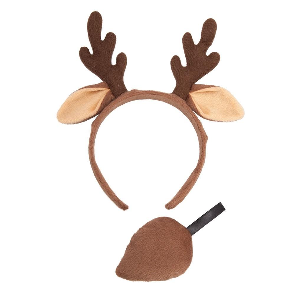 Reindeer Animal Ears & Tail Set Unisex Fancy Dress Accessory