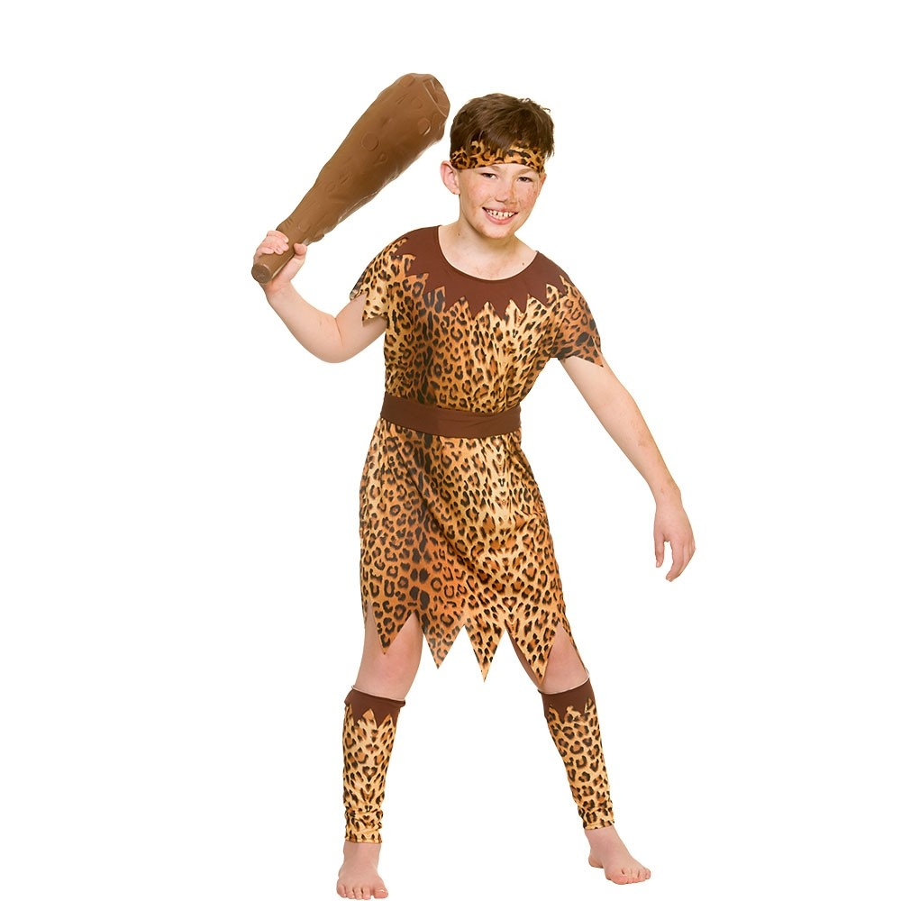 Stone Age Cave Boy Kids Fancy Dress Costume