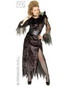 "Black Widow Large UK 14-16"" Halloween Vampire Ladies Fancy Dress Costume"