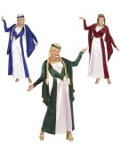 Renaissance Queen Red/Blue/Green Medium Fancy Dress Costume
