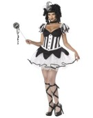 Black and White Deluxe Evil Jester Kings Delight Ladies Halloween Medieval Fancy Dress Costume