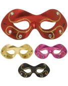 Jewelled Metallic Fabric Eyemask Gold/Black/Red/Pink Fancy Dress Accessory