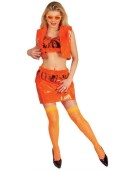 Sexy Disco Girl Cosplay Set Orange Ladies Adult Fancy Dress Costume