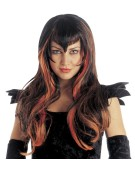 Samantha Wig Black with Orange Strands Adult Fancy Dress Accessory